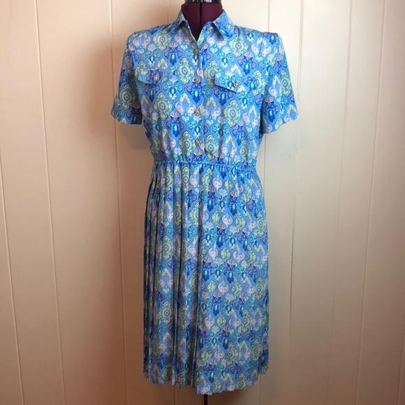 """Vintage Dresses & Skirts - Vintage 70s/80s Blue Purple """"Secretary"""" Dress"""